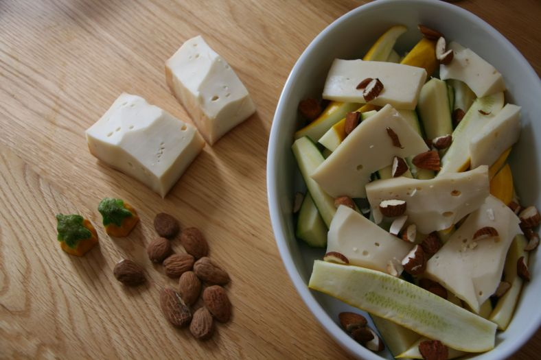 Almands, Fontina cheese, courgettes